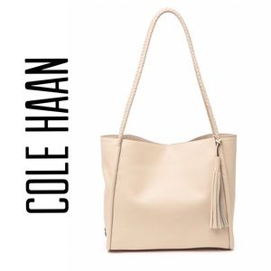 NEW Cole Haan Ivory Leather Tote Bag